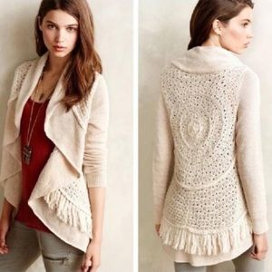 Anthropologie Knitted And Knotted Fringe Cardigan